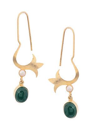 Green Onyx Gold Tone Silver Earrings