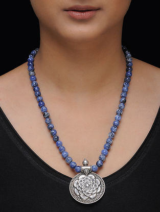 Blue Beaded Silver Necklace with Floral Motif