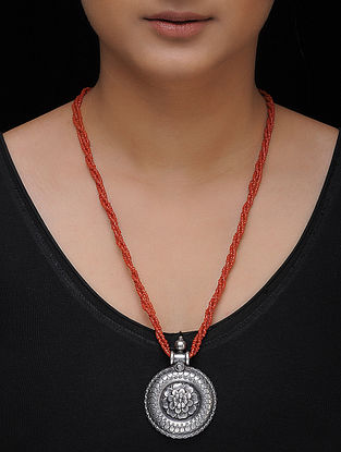 Red Beaded Silver Necklace with Floral Motif