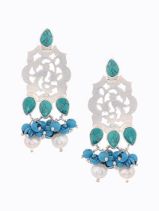 Turquoise Silver Earrings with Pearls