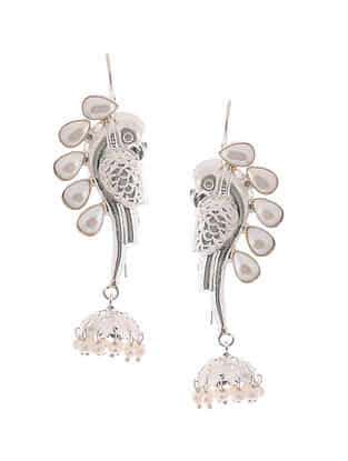 Classic Silver Jhumkis with Fresh Water Pearls