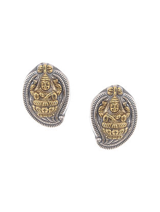 Dual Tone Silver Earrings with Deity Motif