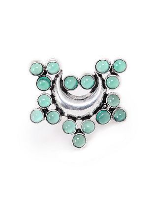Green Onyx Silver Adjustable Ring
