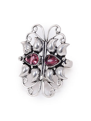 Pink Onyx Silver Adjustable Ring