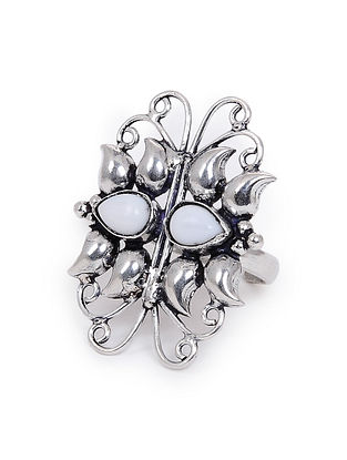 White Onyx Silver Adjustable Ring