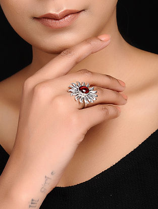 Red Adjustable Silver Ring