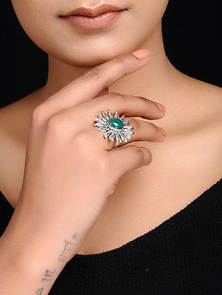 Green Adjustable Silver Ring