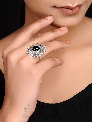 Black Adjustable Silver Ring