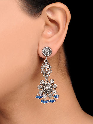Blue Tribal Silver Earrings with Floral Design