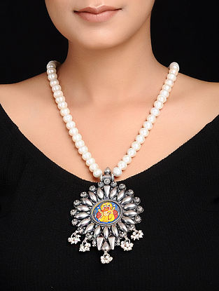 Pearl Beaded Tribal Silver Necklace with Hand-painted Deity Motif