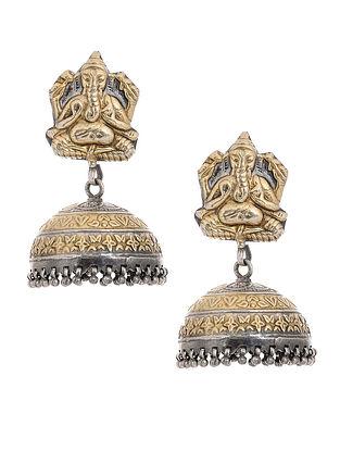 Dual Tone Tribal Silver Jumkis with Lord Ganesha Motif