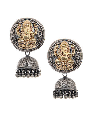 Dual Tone Tribal Silver Jumkis with Lord Ganesha Motif
