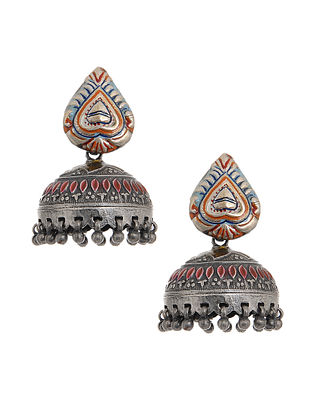 Multicolored Enameled Tribal Silver Jhumkis