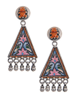 Multicolored Hand-painted Silver Earrings