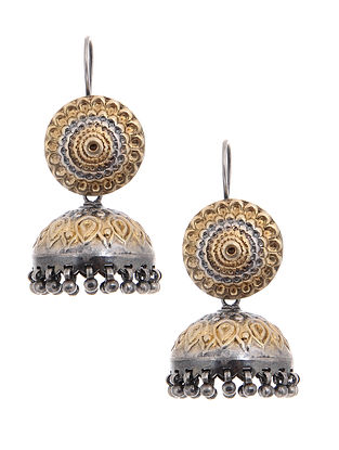 Dual Tone Tribal Silver Jhumkis with Floral Motif