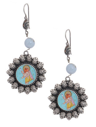 Multicolored Hand-painted Tribal Silver Earrings