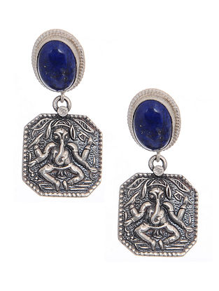 Lapis Lazuli Silver Earrings with Deity Motif