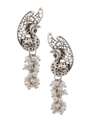 Pearl Silver Earrings with Peacock Design