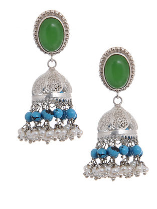 Green-Turquoise Silver Jhumkis with Pearls