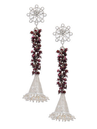 Maroon Silver Jhumkis with Pearls