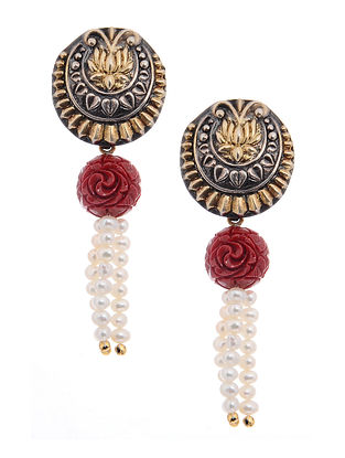 Red Dual Tone Silver Earrings with Pearls