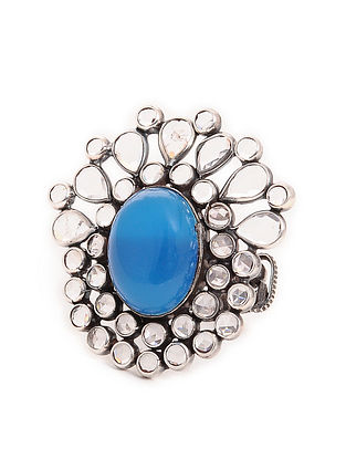 Blue Adjustable Silver Ring