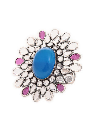 Blue-Pink Adjustable Silver Ring