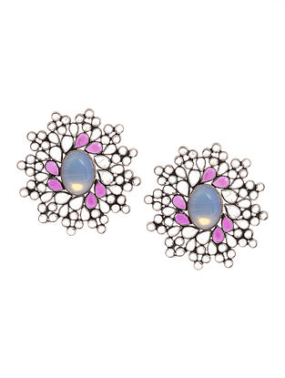 Blue-Pink Silver Earrings