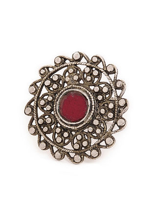 Red Glass Silver Ring (Ring Size - 7)