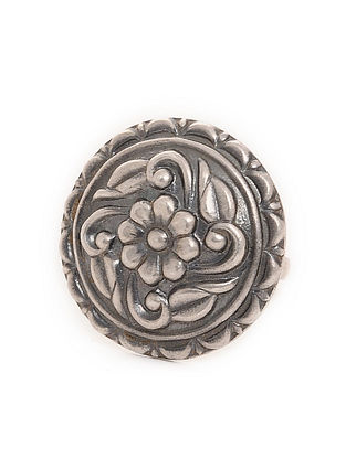 Tribal Silver Adjustable Ring with Floral Motif