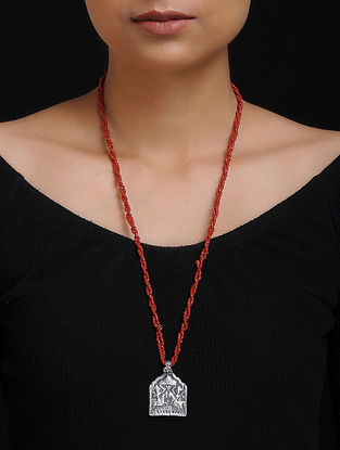 Red Beaded Tribal Silver Necklace with Deity Motif