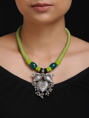 Green Thread Tribal Silver Necklace with Peacock Design