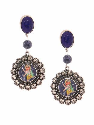 Blue Hand-painted Tribal Silver Earrings