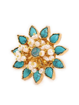 Turquoise Gold Tone Adjustable Silver Ring
