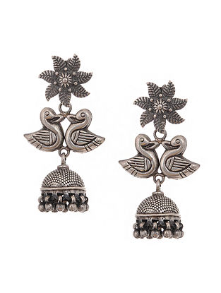 Tribal Silver Jhumkis with Bird Design