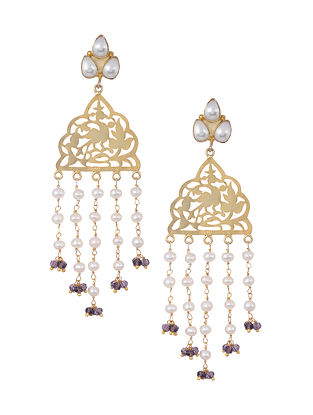 Quartz Gold Tone Silver Earrings with Pearls