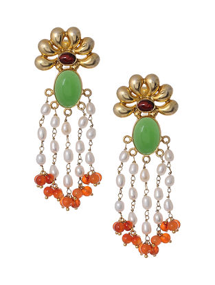 Carnelian Gold Tone Silver Earrings with Pearls