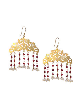Red Onyx Gold Tone Earrings with Pearls