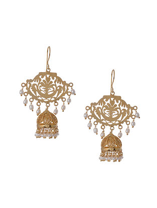 Gold Tone Silver Jhumkis with Freshwater Pearls