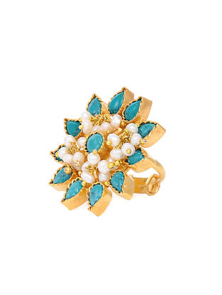 Turquoise and Pearl Gold Tone Silver Adjustable Ring