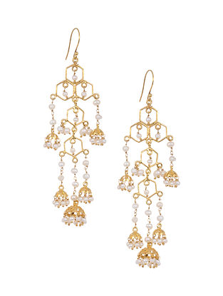 Gold Tone Silver Jhumkis with Pearls