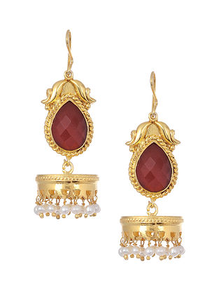 Red Onyx Gold Tone Silver Jhumkis with Pearls