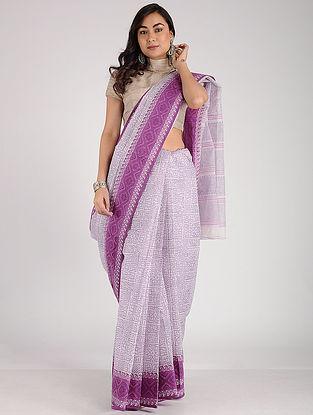 Ivory-Purple Block-printed Cotton Saree