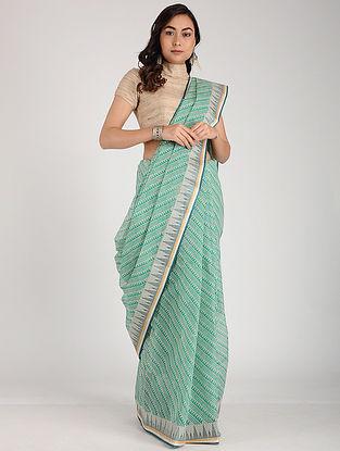 Green-Ivory Block-printed Cotton Saree