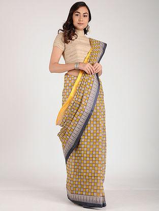Ivory-Yellow Block-printed Cotton Saree