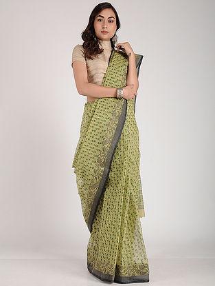Green Block-printed Cotton Saree