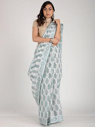 Ivory-Green Block-printed Cotton Saree
