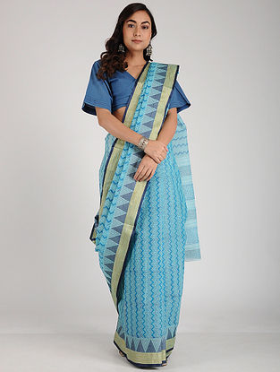 Blue Block-printed Cotton Saree