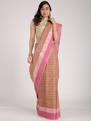 Beige-Pink Block-printed Cotton Saree
