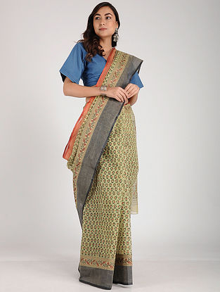 Green-Red Block-printed Cotton Saree